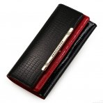Patent Leather Travel Flip Alligator Long Wallets Black/Red
