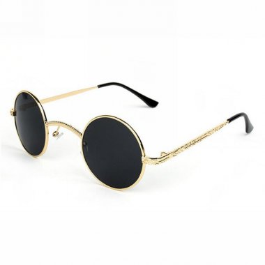 Small Gold Metal Frame Black Steampunk Round Sunglasses