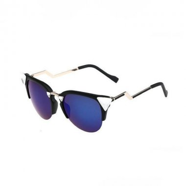 Matte Black Frame Blue Crystal-Embellished Cat Eye Sunglasses