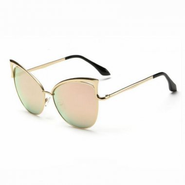 Cutout Detailing Frame Mirror Gold Sexy Cat Eye Sunglasses
