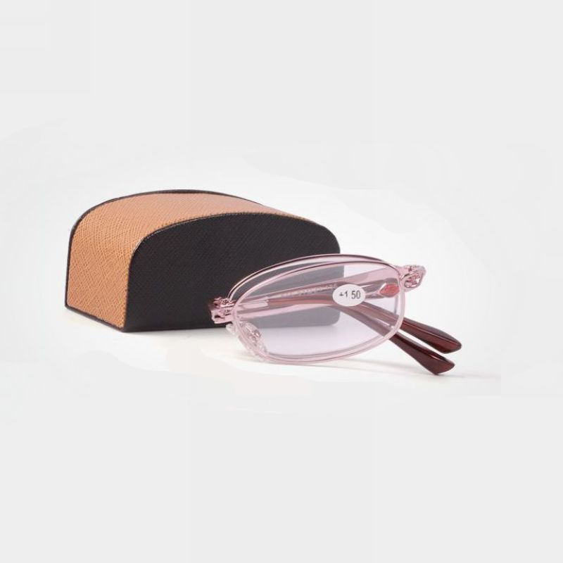 Synthetic Ruby Embellished Gold Frame Folding Compact Reading Glasses