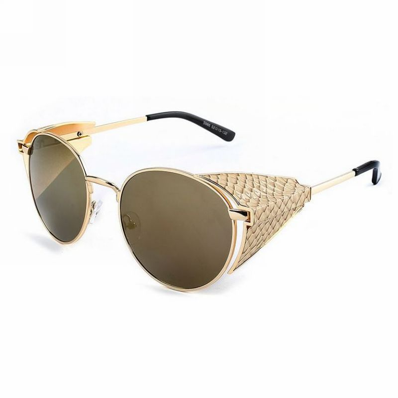 Side Shield Sunglasses  steampunk round metal side shields inventor sunglasses gold frame